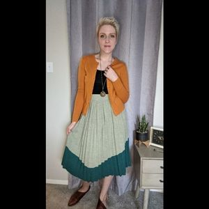 Anthropologie two tone jade green pleated skirt 8
